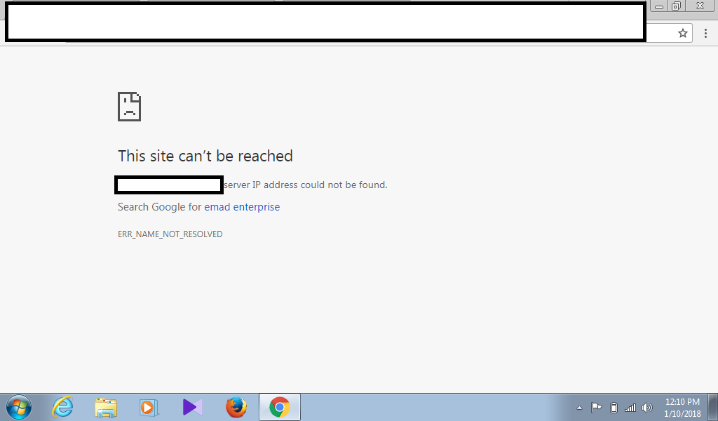 mail.google.com's server dns address could not be found