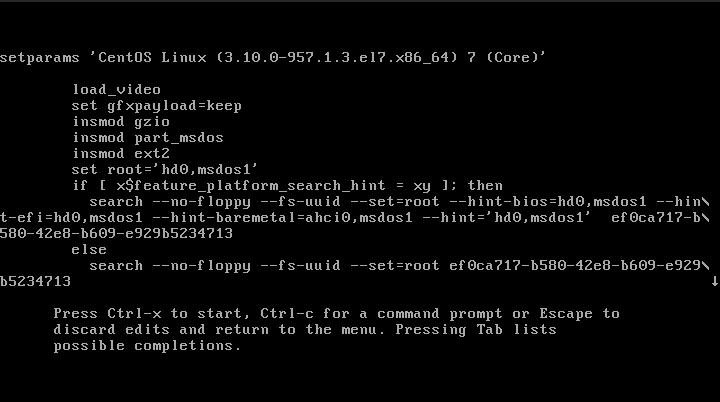 CentOS 7 Boot Edit Screen